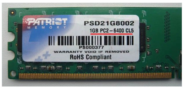 Patriot 1GB PC2 – 6400.